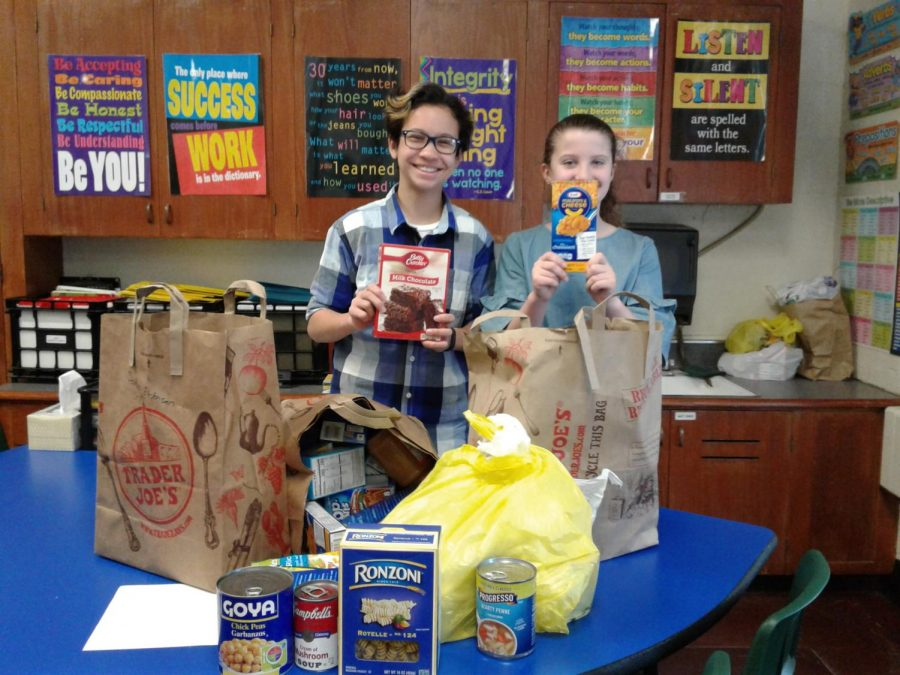 Student Congress representatives in sixth grade county their homeroom's donated good each Friday morning. They check for expiration dates on labels, too.