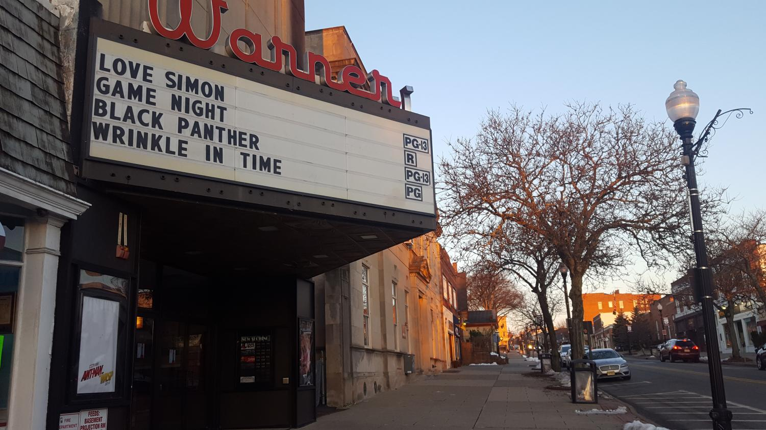 The Black Panther movie is currently playing at the nearby Bow Tie Warner Theater in Ridgewood. There are several showing starting at 11:30 a.m. this weekend.