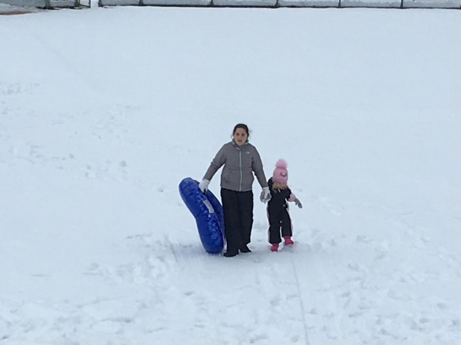 The storm created a Winter Wonderland. Fresh snow blanketed the hills at Memorial School, a favorite spot for outdoor fun.