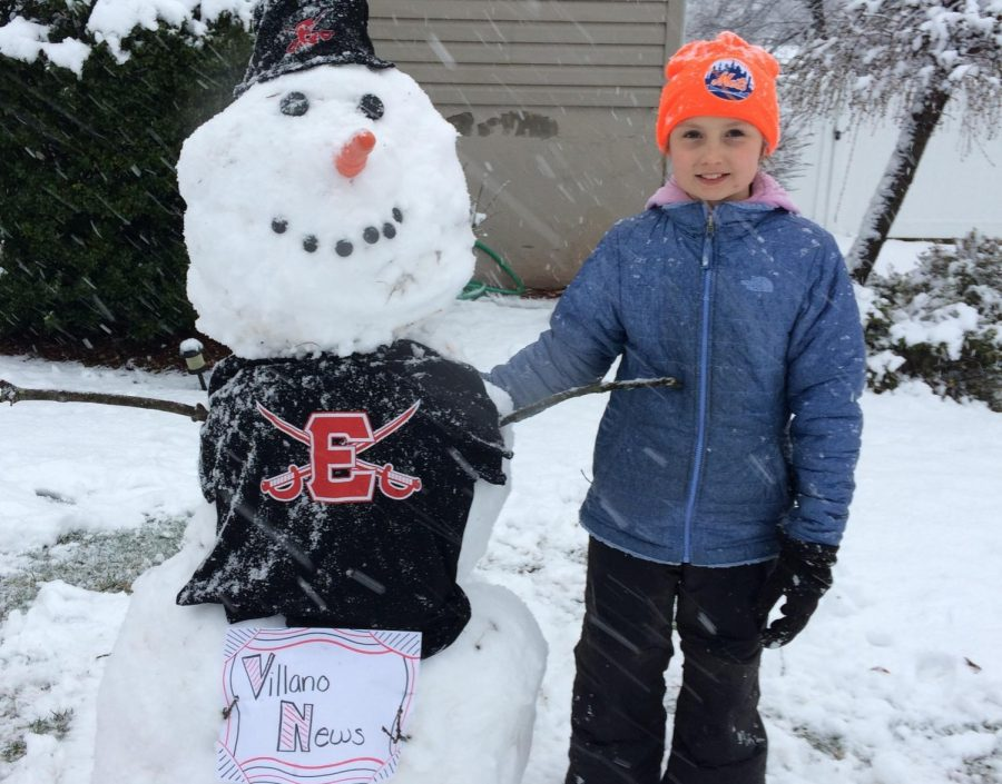 Some students made the most of their day off from school. The snow was perfect for packing and building. This snowman is decked out in Cavo colors.