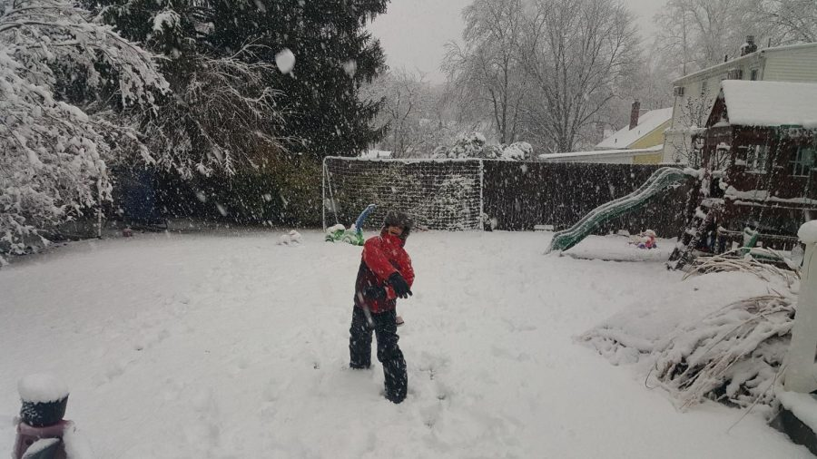 Some students enjoyed a day off from school with an old-fashioned snowball fight. This student targeted his brother who never saw it coming.