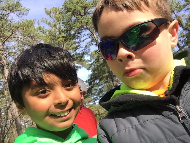 Nick Milo and a friend from Troop 80 in Park Ridge are excited to spend spring break at Great Adventure. Boy Scout troops from Emerson and Park Ridge visited the amusement park during the day and camped out near the park at night.