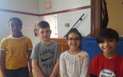 Student Congress recognized these art contest winners during a recent Mr.  O. Show. One winner was announced from each grade. Pictures from left to right are Marileidy Buffa, grade 6; Hugh Hennessey, grade 5; Dani Dominguez - 4th grade; Daniel Acosta, grade 3.