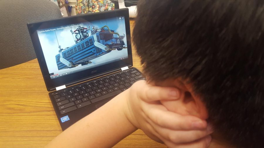 Fornite is popular among students at Patrick M. Villano School. Players fly onto the scene from an airborne bus. The object of the game is to be the last player standing.