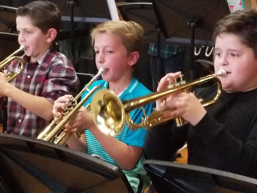 Students in the Concert band play the trumpets, too. The trumpet is a popular brass instrument.