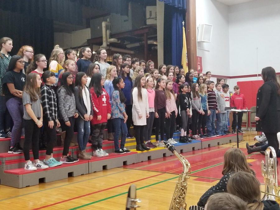 About 50 students performed in the fifth and sixth grade chorus. One of their songs was Somewhere in My Memory.