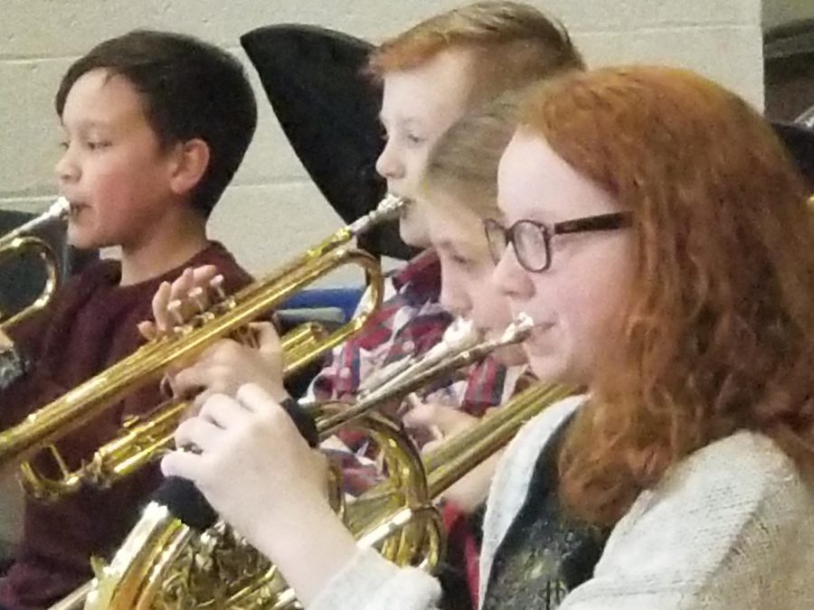 These four students are playing brass instruments. The instruments include the trumpet, trombone, and the french horn.