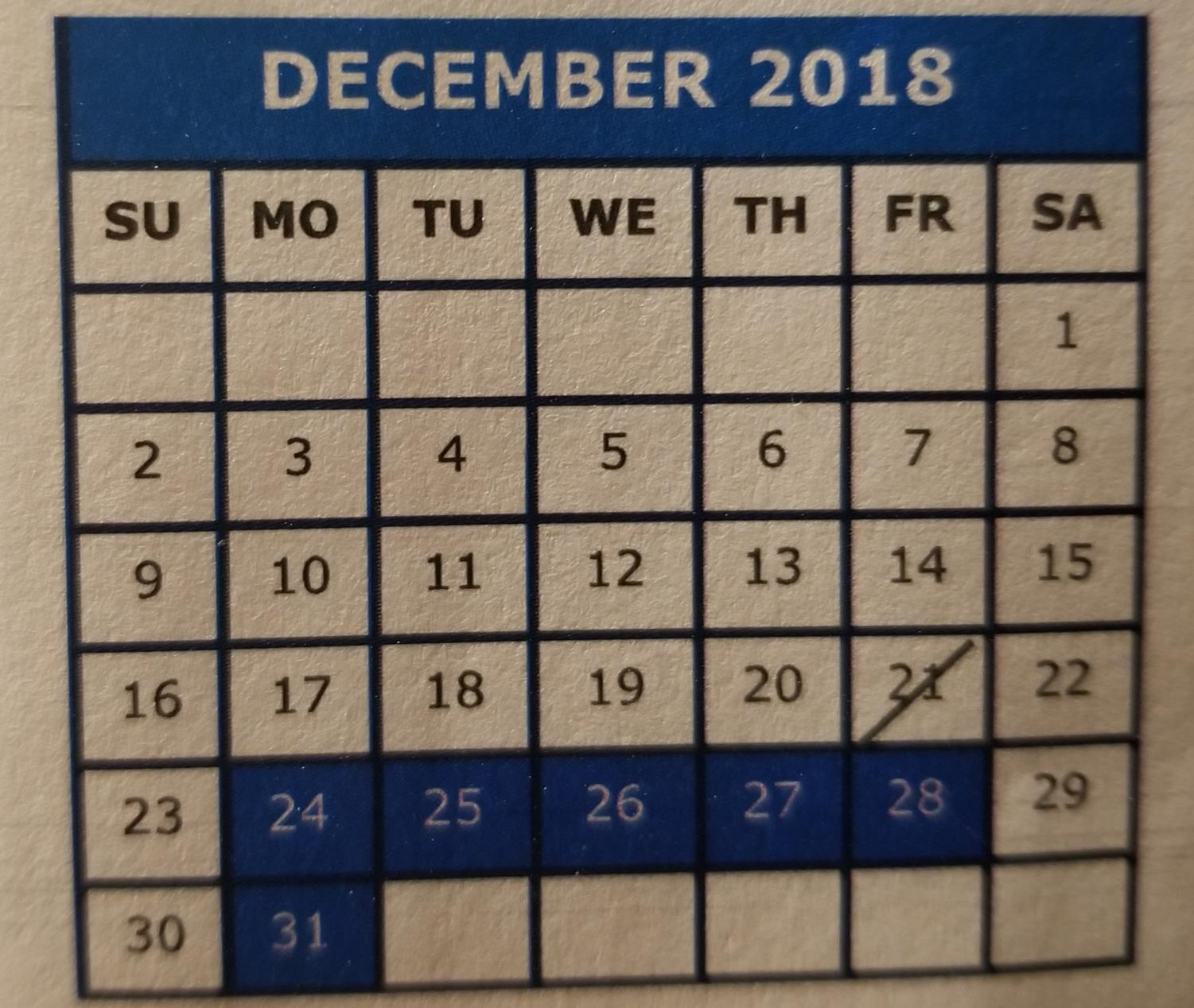 The school calendar shows the winter break for students. Classess resumed on Wednesday, January 2, 2019.