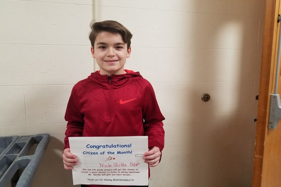Fifth grader Nick Gitto is proud of himself for being awarded Citizen of the Month in January. Teachers choose one student from each grade level every month for the honor.