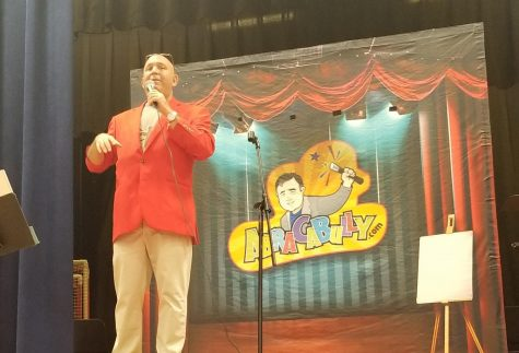 Mike Magic brought his anti-bullying show called AbraCaBully to students at Patrick M. Villano School. He told a personal story of how he was bullied as a child and how he solved his problem in school. Mike Magic uses magic tricks as a way to entertain students and encourage them to make bullying disappear. The Elementary PTA sponsored the 45-minute assembly.