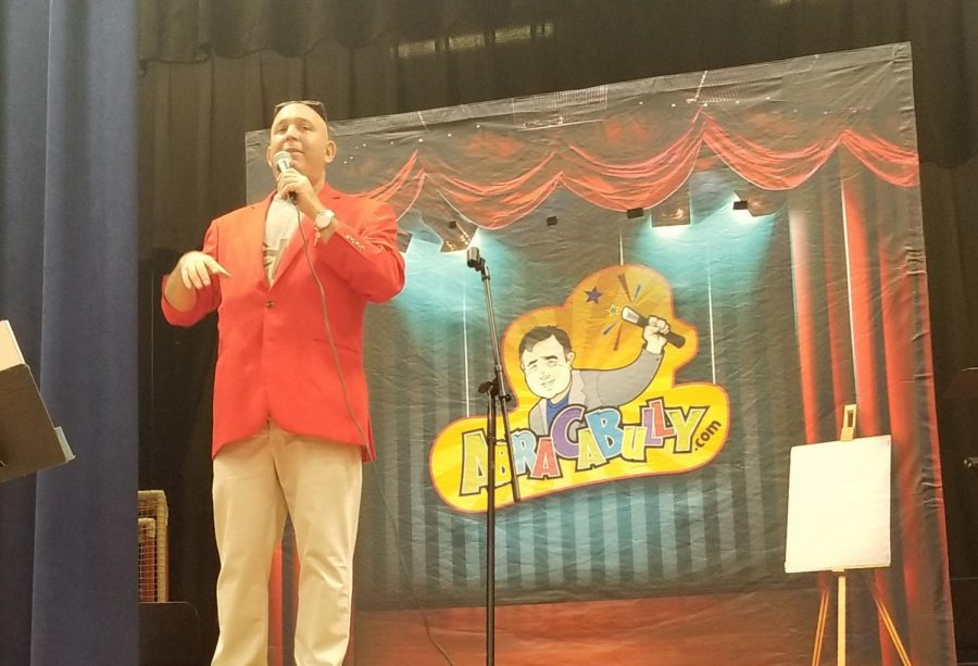 Mike+Magic+brought+his+anti-bullying+show+called+AbraCaBully+to+students+at+Patrick+M.+Villano+School.+He+told+a+personal+story+of+how+he+was+bullied+as+a+child+and+how+he+solved+his+problem+in+school.+Mike+Magic+uses+magic+tricks+as+a+way+to+entertain+students+and+encourage+them+to+make+bullying+disappear.+The+Elementary+PTA+sponsored+the+45-minute+assembly.