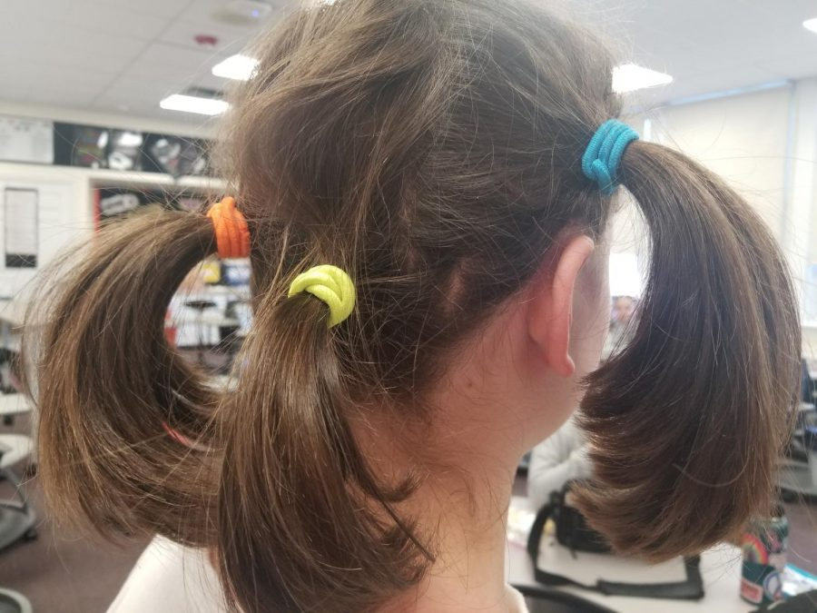 Newspaper reporter Skyyler Electra Romaine opted for a trio of pony tails for Crazy Hair day.