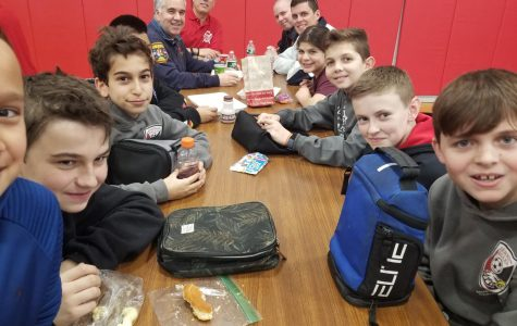 Emerson firefighters lunch with Villano students