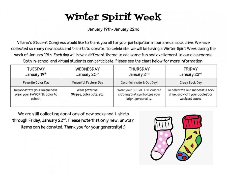 This flyer was posted in the hallways of school announcing Spirit Week. The representatives from Student Congress organized the event.